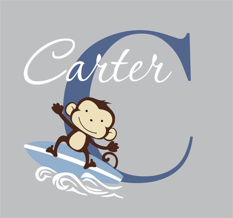 Monkey Wall Decal - Surfing monkey wall decal - surfer decal - Nursery Wall Decal