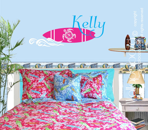 Surfing Wall Decal - Beach Wall Decal - Girl's Name Wall Art