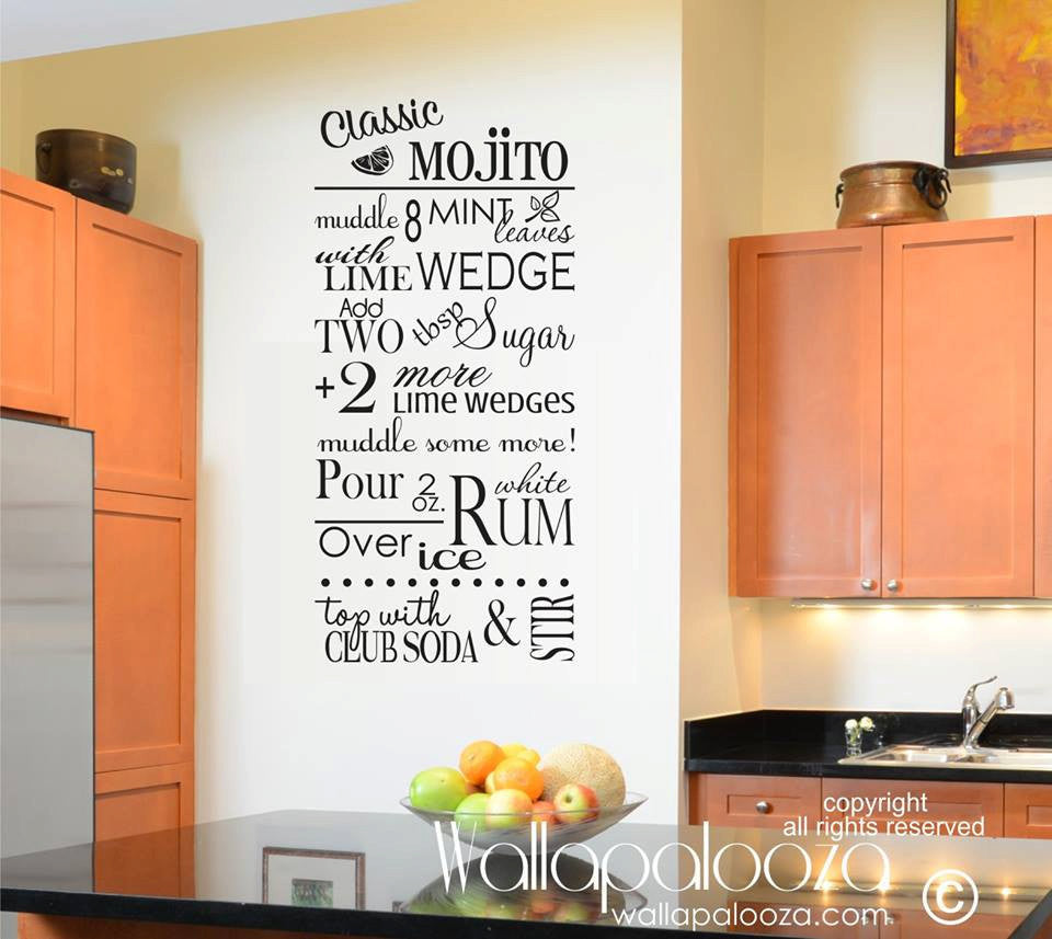 Mojito Wall Decal   Kitchen Wall Decal   Recipe Wall Decal