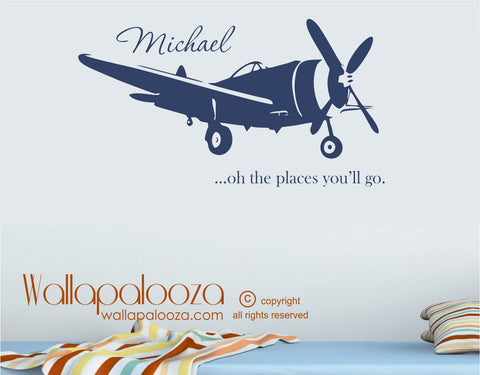 Airplane Wall Decal - Flying Wall Decal - Airplane Wall Art