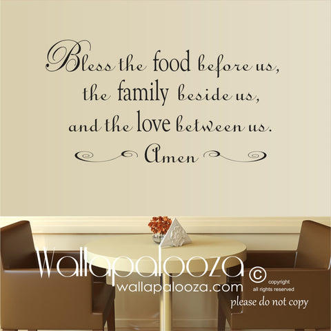 Bless The Food Wall Decal - Kitchen Wall Decal