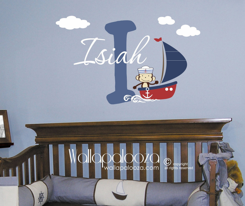 Sailing wall decal - Sailboat wall decor - Monkey wall decal