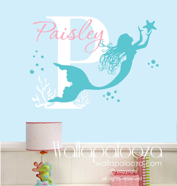 Mermaid wall decal - custom made mermaid wall decal - girl name decal - mermaid wall art