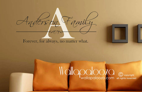 Family Wall Decal - Forever for always - Family Name Monogram Wall Art - Family Name Wall Decor