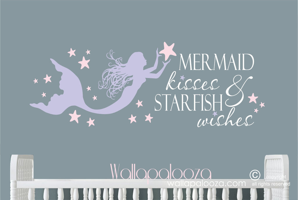 mermaid kisses and starfish wishes wall decal - mermaid wall decal