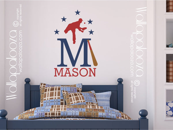 Baseball wall art - Baseball wall stickers - Sports name wall art