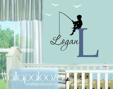 Fishing Wall Decal - Boy's Name Wall Decal - Nursery Wall Decor