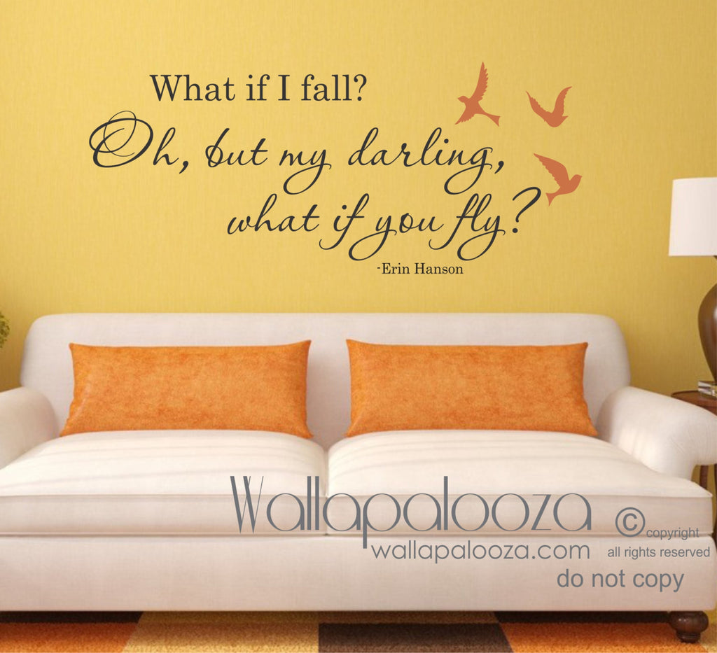 What If I Fall Wall Decal   What If You Fly Wall Decal   Inspirational Wall