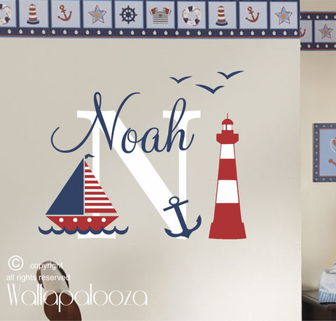 Nautical wall decal - sailing wall decal - sailing name wall decal - nautical wall decor