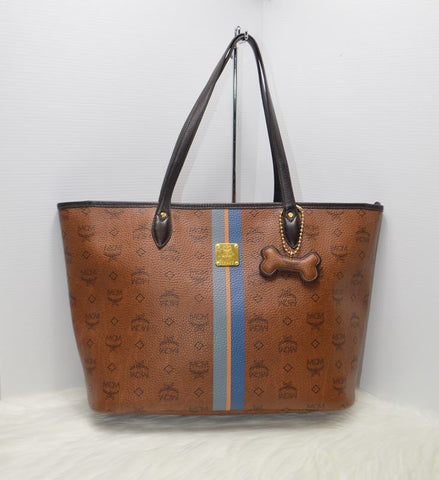 Preloved Authentic Vintage MCM Cognac Visetos Shopper Bag with Dog Bone