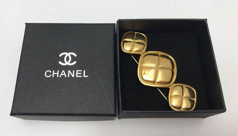 Preloved Authentic Triple Quilted CHANEL Brooch