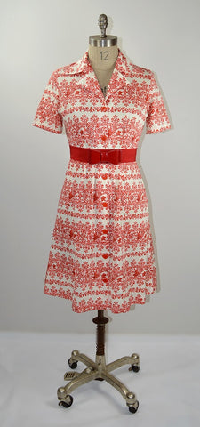 Vintage #342: 1960's Red Orient Day Dress         size 12