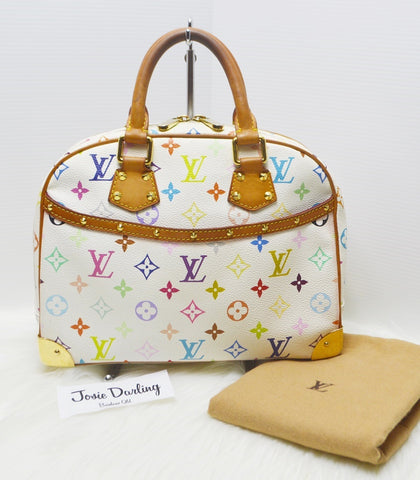 Preloved Authentic Louis Vuitton White Monogram Multicolore Trouville Bag