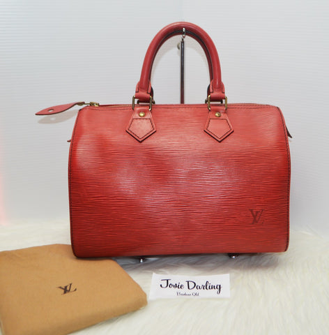Preloved Authentic Louis Vuitton Red Epi Leather Speedy 25