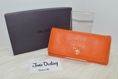 Preloved Authentic PRADA Vitello Daino Continental wallet