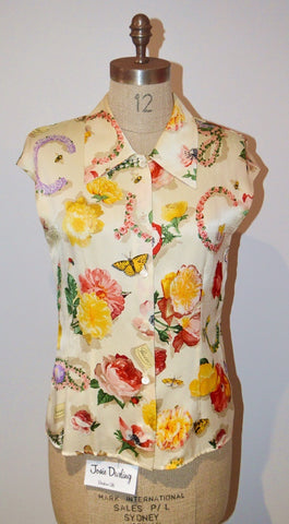 Preloved Vintage GUCCI silk floral Blouse