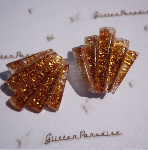 Confetti Lucite Shell Art Deco Earrings - Gold