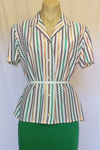 Vintage #184 : 1950's Metallic Button up Top            Size 14-16