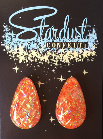 Stardust Confetti : Medium Tear - Flame Orange with Gold Accent