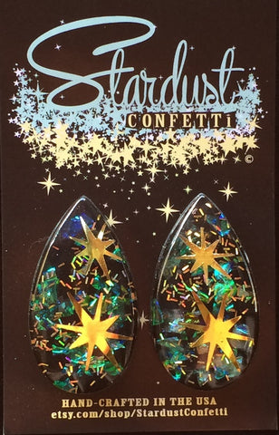 Stardust Confetti Lucite : Large Tear - Midnight