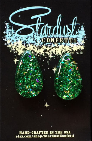 Stardust Confetti Lucite : Medium Tear - Emerald Green with Gold