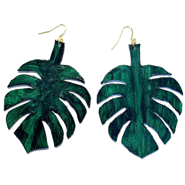 ODUARDO - Monstera Leather Earrings