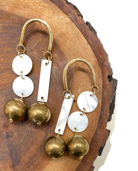 ALEISHLA -  Boulder Mother Pearl Earrings