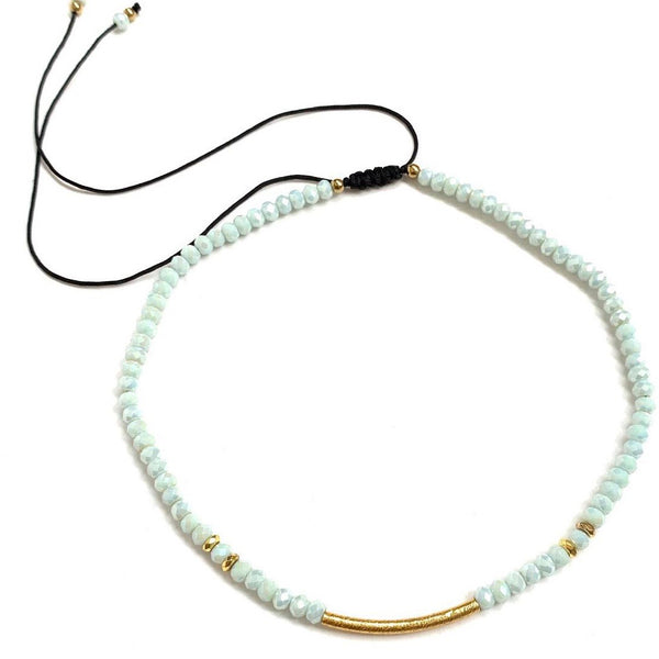 HC DESIGNS- Curved Golden Tube Crystal Adjustable Choker (more colors available)