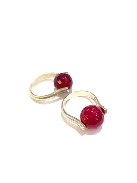 SUSANA CACHO - Silver Sphere Rings- Agate