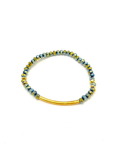 HC DESIGNS- Golden Tube Crystal Bracelet