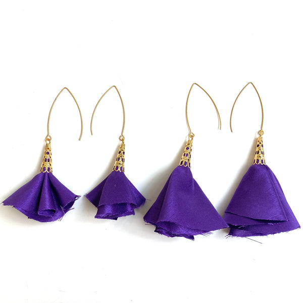 Sulyvette  Diaz- Bell Earrings - Satin Purple