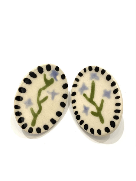 LAS MALCRIÁS- Artificio- Oval Lavender Stud Earrings