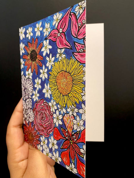 SUSANA CACHO-  4x6 Greeting Card With Envelope- Spring Flowers in Bloom