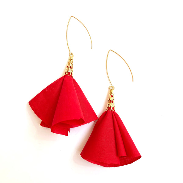 Sulyvette Diaz- Bell Earrings - Poppy Red