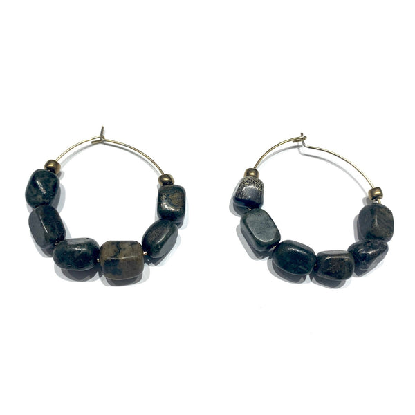 SULYVETTE DÍAZ- Precious Stone Hoop Earrings
