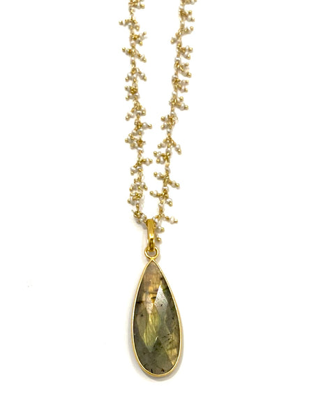 MONIQUE MICHELE- Labradorite Pearl Necklace