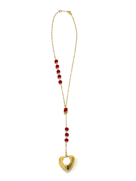 HC DESIGNS- Pearl Heart Lariat