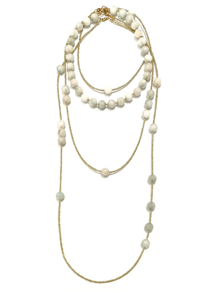 HC DESIGNS- 4 Layer White Agate Necklace Set