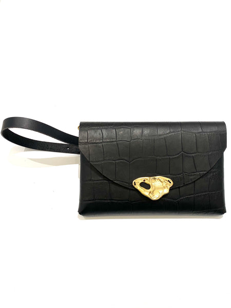 DOS PINCELES- Black Little Leather Bag- Multiuse