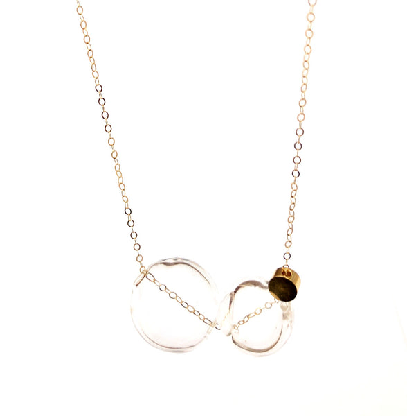 LUCA - CLASSIC DOUBLE GLASS SPHERE SHORT NECKLACE