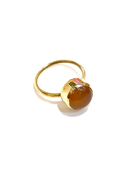 Aleishla-  Brass Peach Moonstone Ring