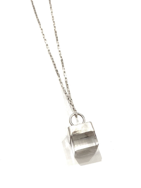 UNEVEN JEWELRY- Clear Quartz Cube Necklace