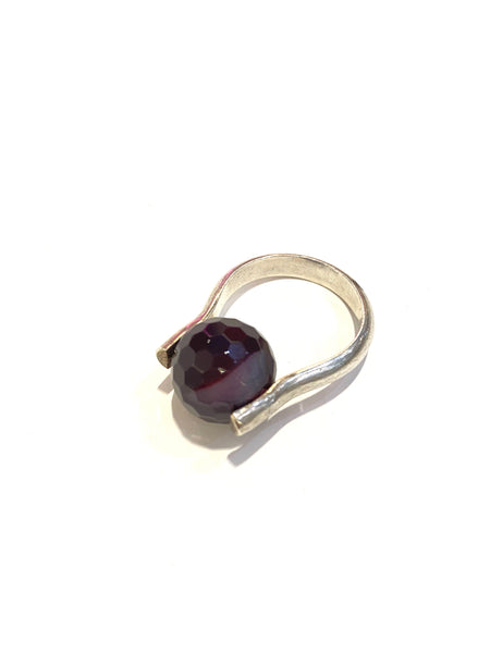 Susana Cacho- Silver Sphere Rings- Agate