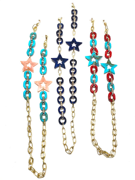 HC DESIGNS- Mask or Sunglasses chains - Stars and Links (many colors available)