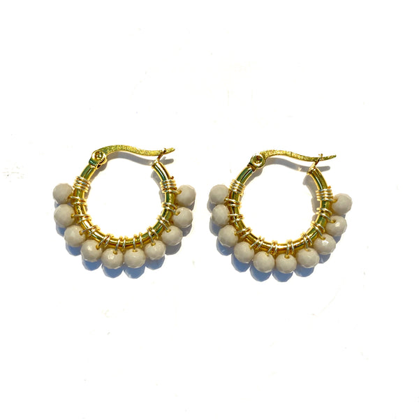 HC Designs - Golden 1inch Beaded Round Hoops