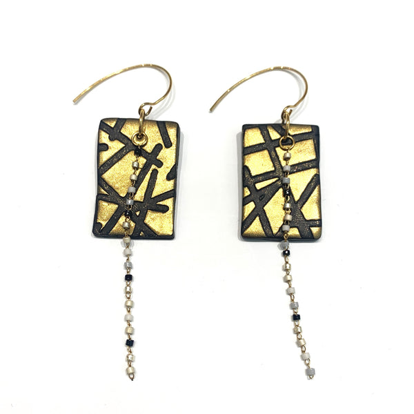 COCOLEÉ- Rectangle with Bead String Earrings