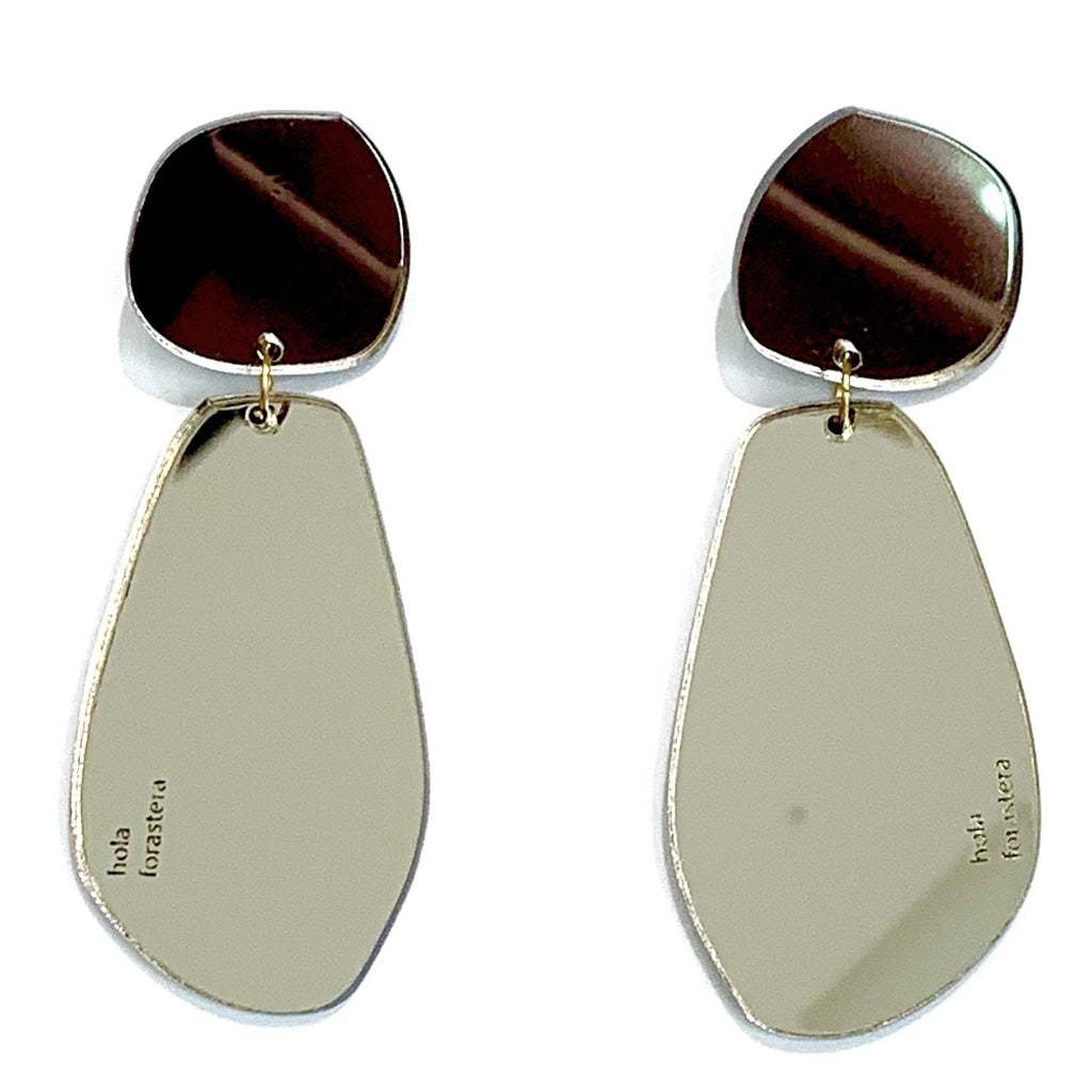 FORASTERA - La Gota Earrings - Pewter Mirror