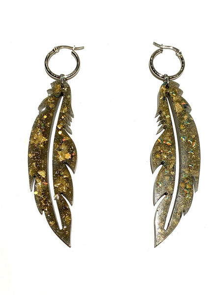 EMU.ART- Feather Dimensional  Crystals Earrings