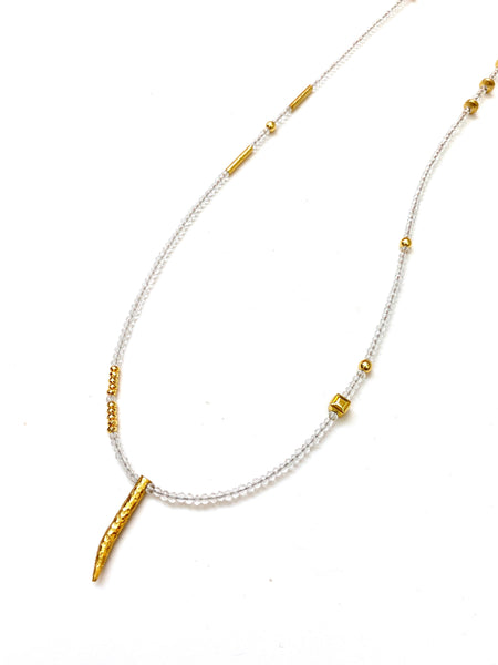 HC Designs- Long Basic Crystal Necklace- Clear