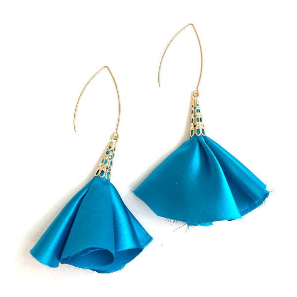 Sulyvette  Diaz- Bell Earrings - Bright Blue